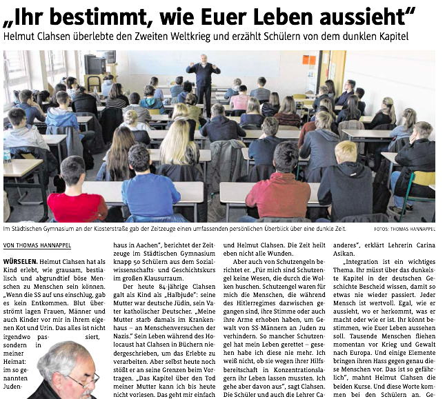 Zeitzeugen zu Besuch am Gymnasium Würselen